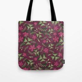 Shamrock Floral Layered Pattern / Purple Tote Bag
