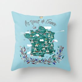 Map of french vineyards Throw Pillow