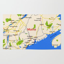 Map of Maine state, USA Rug