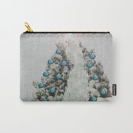 Silver Bird Snowy Tree Carry-All Pouch