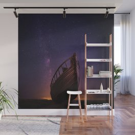boat under a starry sky Wall Mural