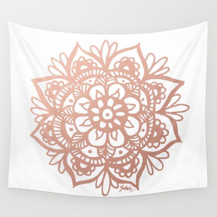 Rose Gold Mandala Wall Tapestry By Julieerindesigns