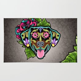 Doberman with Floppy Ears - Day of the Dead Sugar Skull Dog Rug