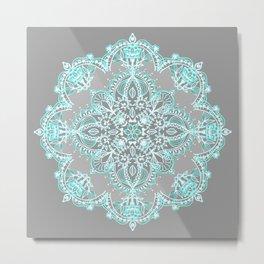Teal and Aqua Lace Mandala on Grey Metal Print