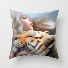 Angel of Tigers Throw Pillow