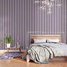 Dark byzantium purple - solid color - white vertical lines pattern Wallpaper