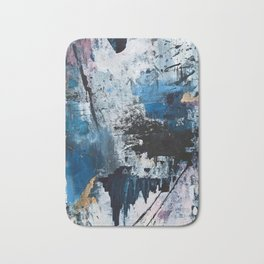 Breathe: colorful abstract in black, blue, purple, gold and white Bath Mat