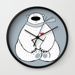 Unshaved polar bear being in love Wall Clock