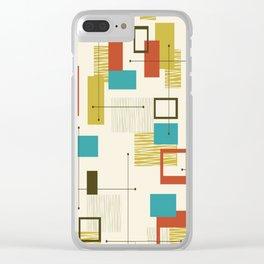 Mid Century Modern, Sputnik Pattern Clear iPhone Case