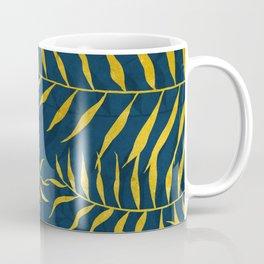 Golden Palm tree blue Coffee Mug