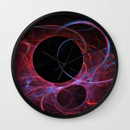 Neon Gravity Flame Fractal Wall Clock