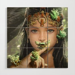 The princess and the frogs Wood Wall Art