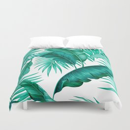 HAWAIIAN GARDEN TROPICAL LEAVES | turquoise white Duvet Cover