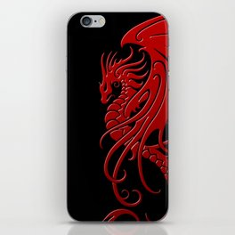Flying Red and Black Tribal Dragon iPhone Skin