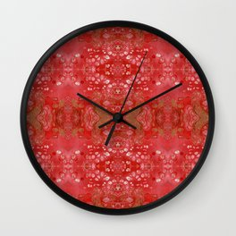 Red and gold fluid art Wall Clock