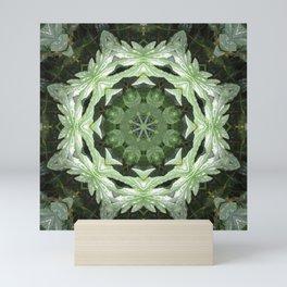 Tropical Twist - Green Leaves Kaleidoscope, Mandala Mini Art Print