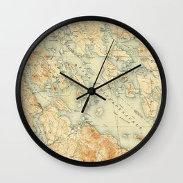 Vintage Map of Lake Winnipesaukee (1907) Wall Clock
