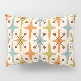 Mid Century Modern Abstract Star Pattern 441 Orange Brown Blue Olive Green Pillow Sham