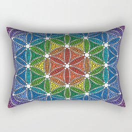 Rainbow Happy Flower of Life Rectangular Pillow