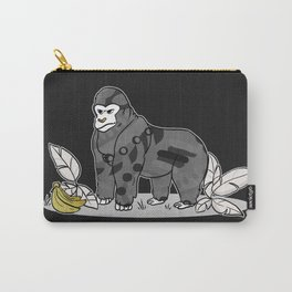 Gorilla & Bananas,Funny Wild Animal Graphic,Black & White with Brass Gold Metallic Accent Cartoon Carry-All Pouch