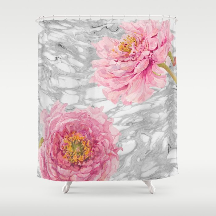 White marble and pink flowers shower curtain by entirelyeventfulday white marble and pink flowers shower curtain by entirelyeventfulday society6 mightylinksfo