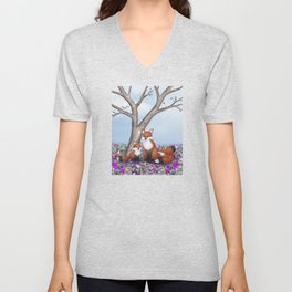 fox, cubs and tufted titmice Unisex V-Neck