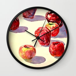 Red Apples watercolor Wall Clock