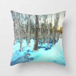 Path through the Snow Throw Pillow