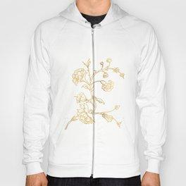 Golden flower on white background . artwork . Hoody