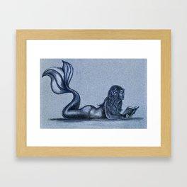 Mermaid Reading Framed Art Print
