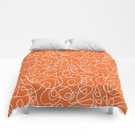 Doodle Line Art | White Lines on Persimmon Orange Comforters