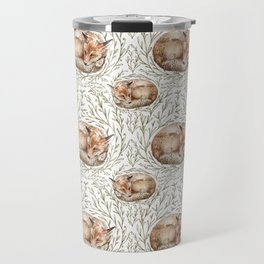 Sleeping foxes with leaves Travel Mug