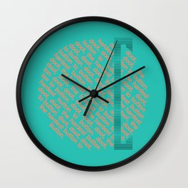 Button to button - teal & coral Wall Clock