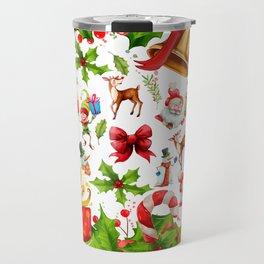 Holiday festive red green holly Christmas pattern Travel Mug
