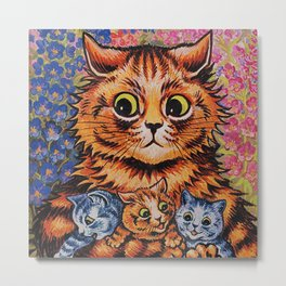 Cat and Her Kittens-Louis Wain Cats Metal Print