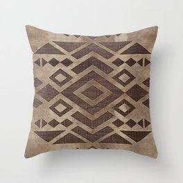 Ethnic Geometric Wooden texture pattern Throw Pillow