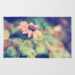 Romance. Golden dust pink daisy with bokeh. Rug