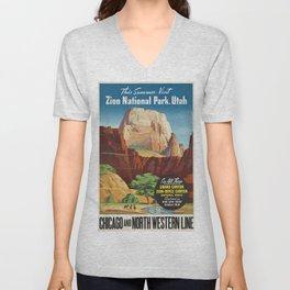 Vintage poster - Zion National Park Unisex V-Neck