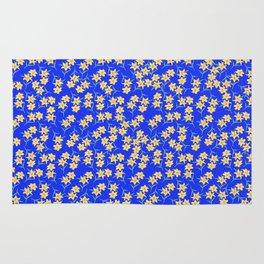 Yellow Lilies on Cornflower Blue Background Rug