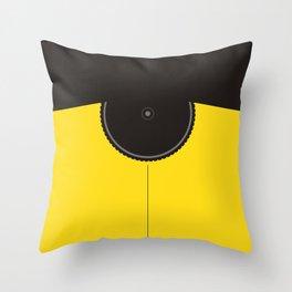 Yellow Jersey Bicycle Throw Pillow