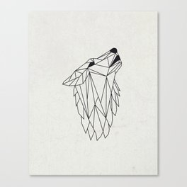 Geometric Howling Wild Wolf Canvas Print