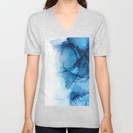 Blue Tides - Alcohol Ink Painting Unisex V-Neck