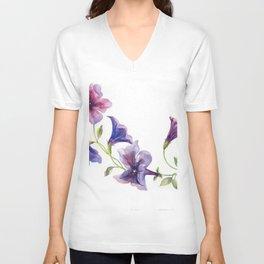 Watercolor branch of petunia. Unisex V-Neck