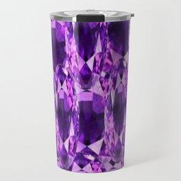 February Babies Purple Amethyst Gems Abstract Travel Mug