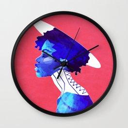 Woman in Blue Wall Clock