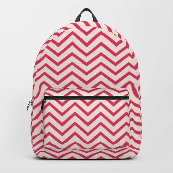 Antique White and Cherry Pink Chevron Stripes Backpack