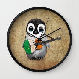 Baby Penguin Playing Irish Flag Guitar Wall Clock