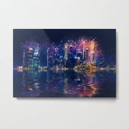 Singapore Night Skyline Metal Print