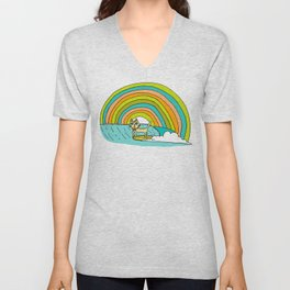Rad Surf Kitty Tastes the Rainbow Single Fin Longboard Unisex V-Neck