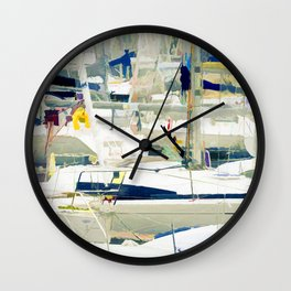 Harbour in the Bretagne Wall Clock